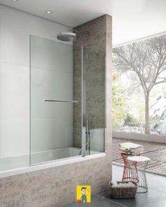 mampara bañera panel liso + abatible modelo brest liso